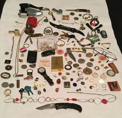 Jewelry Junk Drawer Lot-Knives Coins Jewelry Lighter Keys Pins Etc-Look
