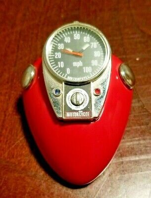 Red Motorcycle Gas Tank Speedometer Paperweight Desk Ornament