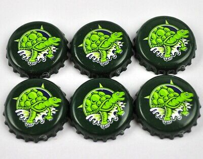 Set 6x Kronkorken USA Bier Soda Bottle Caps - Schildkröte Turtle Motiv grün
