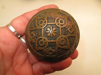 Antique Victorian Brass Door Knobs W Pinwheel Daisy, Set Of 4  Vtg,Eastlake