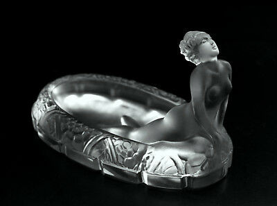 Art Deco Nude Bohemian Grosted Glass Bowl Jewelry Box 1930' H.Hoffmann