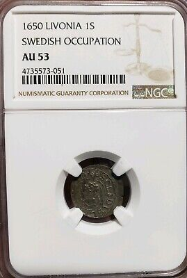 LIVONIA, Swedish Occupation. Christina, Billon Solidus, 1650, NGC AU53
