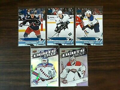 2018-19 UD Overtime Lights Out Lot of 2 Price Lundqvist +3 Blue Parallel Panarin