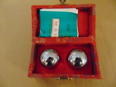 Vintage Oriental Chrome Exercise Ball Set Chime Hand Motion Massage Balls
