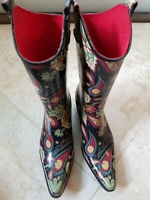 b2b489bba3a CORKY'S PRINTED RUBBER Rodeo Style Black Off White Rain Boots (some ...