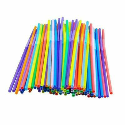 100 Flexible Drinking long Jumbo Straw Bendy Party Straws Colour Adults Kids