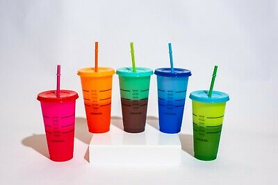 Color Changing Cups | 24 ounces | 5 Pack | Starbucks-Style | W/ Lids and Straws
