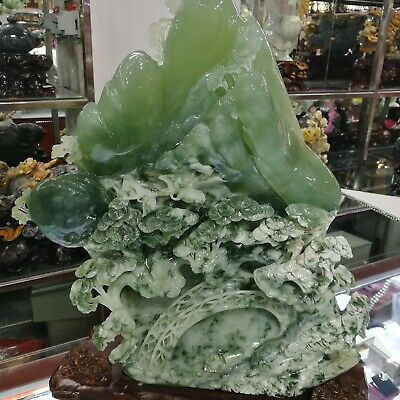 China Exquisite Hand-carved Natural landscape carving Dushan Jade Statue+base