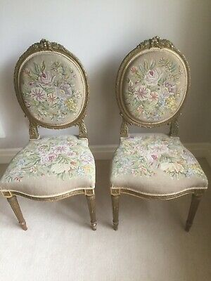 Pair of 19th Century French Louis XVI painted chairs