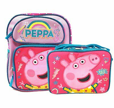 12'' Peppa Pig Small Backpack School Bag Pink W/ Insulated Lunch Bag