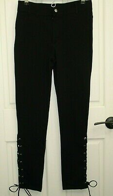 Shinestar Womens  Size L (29x29.5) Sexy Black Side Lace Pants Stretch 56-15750