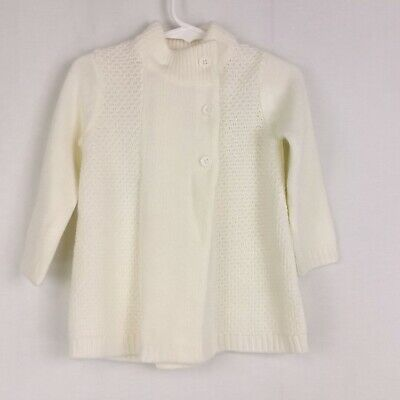 JANIE & JACK Girls Sz 18-24 Months Ivory Side Button Mock Neck Long Sweater