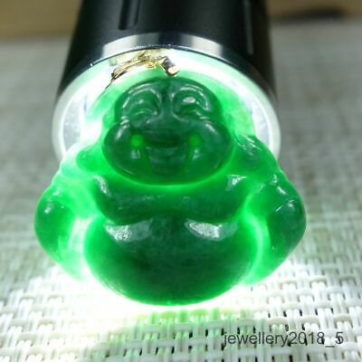 Small Certified Green 100% Natural A jadeite jade Pendant 18K Gold~Buddha god 佛公