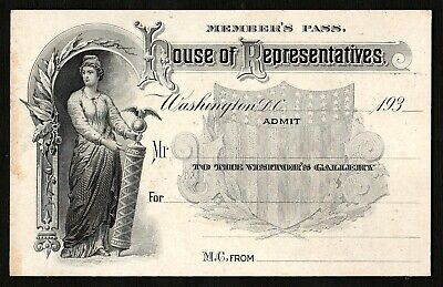 HOUSE of REPRESENTATIVES~Engraved Members Pass/Ticket~Early 1930s~UNUSED