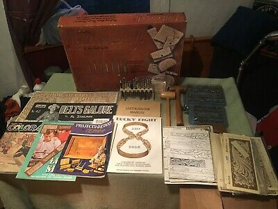 Huge Leather Craft Lot-Punches Alphabets(2) Malletts Instruction Books Templates