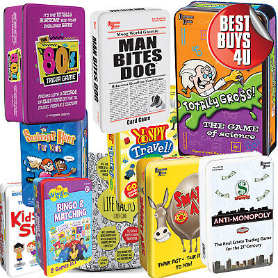Assorted Tin Card Games - Anti Monopoly, Smart Ass, Wiggles, 80S
