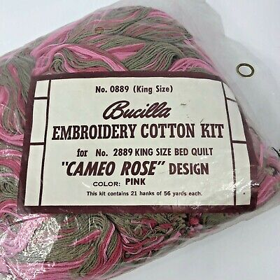 Bucilla Floss Thread Embroidery Cotton Kit Cameo Rose Pink King Size for Quilt