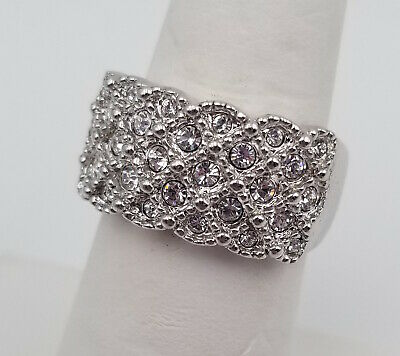 18K White Gold Plated Faux Diamond Rhinestone Cluster Cocktail Ring Band Size 8