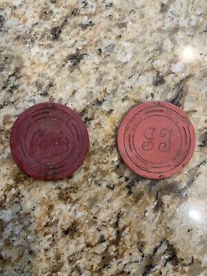 2 Poker Chip Lot Carls & GJ Large Crown Casino Chips.  Illegal Casino?