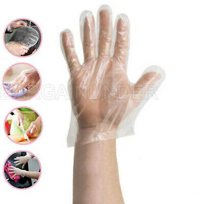 900 PC Plastic Clear Disposable Gloves Food Hygiene Cleaning Catering US Seller*