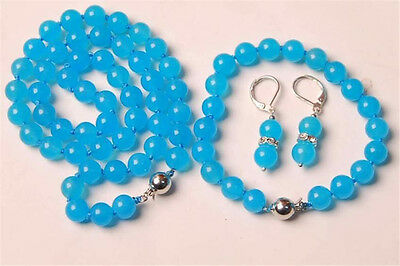 10MM Blue Topaz Chalcedony Round Beads Necklace & Bracelet & Earrng Set AA