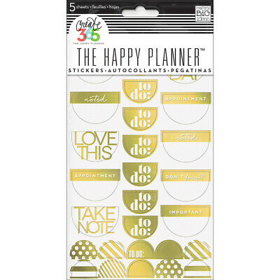 Create 365 Happy Planner Stickers 5/Sheets -To Do, Gold Foil