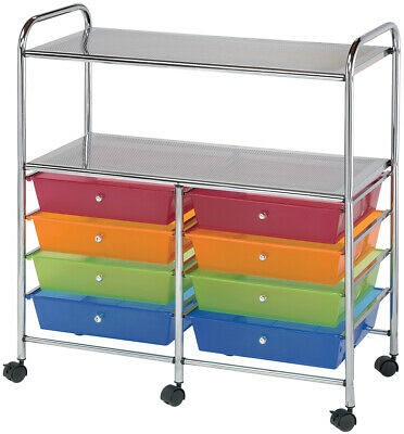 "Double Storage Cart W/8 Drawers-31.74""X35""X14.75"" Multicolor"