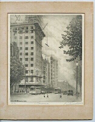 "1928 Orig Etching  Titled ""Finance"" By John C Goodhart Collins Sat Melbourne D40"