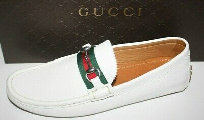 5f1970529 GUCCI MENS WHITE driver loafer US shoes size 7.5 - $375.00 | PicClick