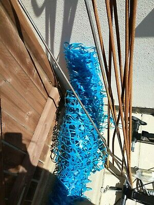 Blue Plastic Fencing And Metal Stakes