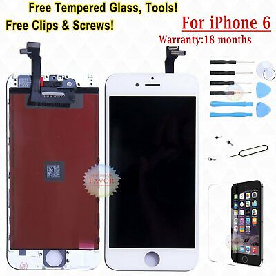 Touch Schermo Display Per Apple Iphone 6 Lcd Vetro Bianco Frame + Tempered Glass
