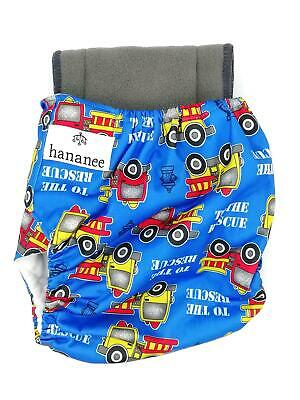 Hananee Baby Cloth Diapers with Bamboo Charcoal Insert All-In-One Nappy Cars