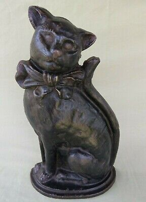 "Vintage 14"" Heavy Cast Iron Black Cat Door Stop"