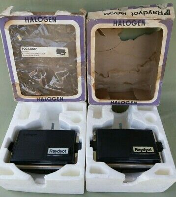 NOS Pair 1970s Vintage Raydyot 12v Halogen Clear Fog Lamps with Covers DL802C