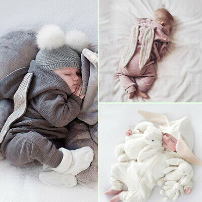 US Sweet Infant Baby Boy Girl Rabbit Ears Hooded Romper Jumpsuit Outfits Clothes