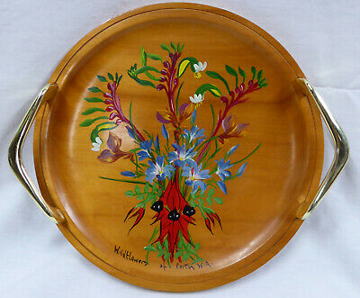 Vintage Mid Century Wooden Serving Tray - Wildflowers of Perth W.A.