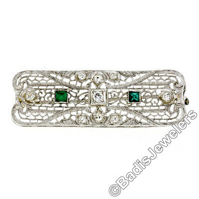 Antique Art Deco 14k Gold .27ctw Diamond Emerald Filigree Hand-Etched Pin Brooch