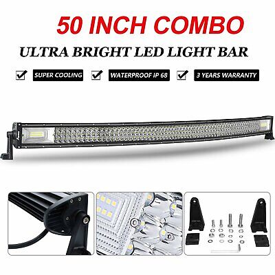 Curved 50inch LED Light Bar SPOT FLOOD COMBO Beam Work Driving Roof 4WD SUV 52""