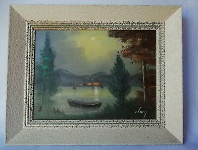 Antique Painting Oil on Canvas Landscape Lake Evening/Dark Signed Lamy ? 20th