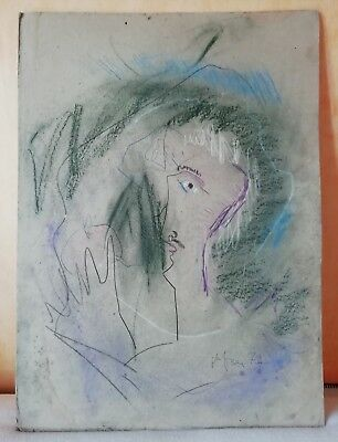 Antique Drawing the Pencils Pastel Plate Cardboard Head D' Man Stylized Signed