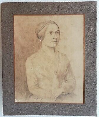 Antique Drawing on paper Pencil Mine Lead Portrait Woman Signed Mayoux 19th