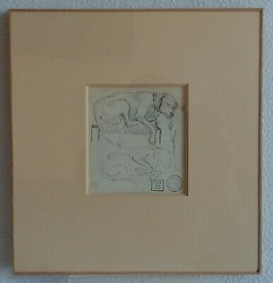 Antique Drawing Original Dog Lying Album Charles Beauverie Y.H Sale May 1923