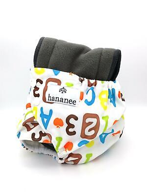 Hananee Baby Cloth Diapers with Bamboo Charcoal Insert All-In-One Nappy Alphabet
