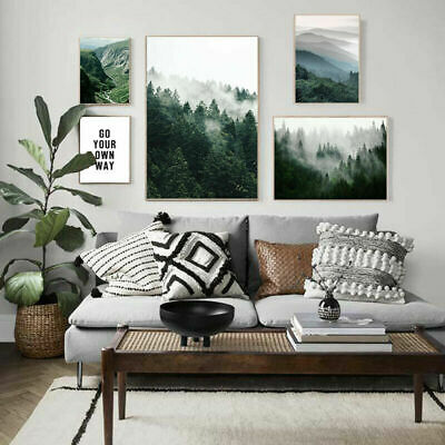 Misty Foggy Forest Nature Scenery Poster Nordic Landscape Canvas Wall art Print