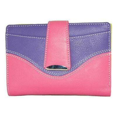 Cenzoni Funky Multi-colour Ladies Leather Wallet Hot Pink-Purple