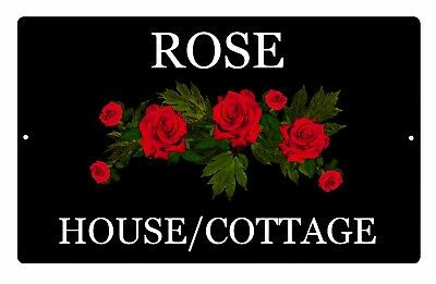 Custom Personalised Rose House Cottage Black Aluminium Sign Door Plaque 5 Sizes