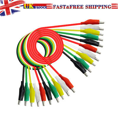 10PCS Crocodile Test Leads Clamps Wire with Double Ended Aligator Clips Cable