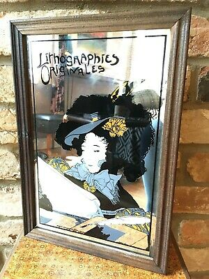 Vintage Art Deco Nouveau Style Lithographies Originales Decorative Mirror 24x34
