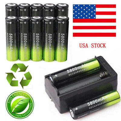 10PC SKYWOLFEYE 5800mAh Li-ion Rechargeable 18650 3.7V Battery &Smart Charger US