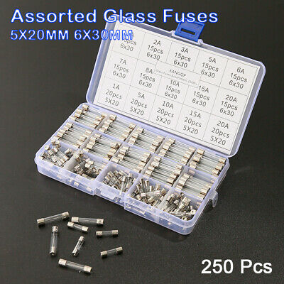250tlg Sortiment Feinsicherung Glassicherungen 1-20A 5x20mm  6X30mm mit Box Set